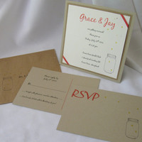 Firefly Wedding Invitation Set of 75 Taupe Cream square invite earth friendly recycled firefly wedding invitation recycled paper invitations