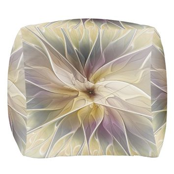 Floral Fantasy Gold Aubergine Abstract Fractal Art Pouf