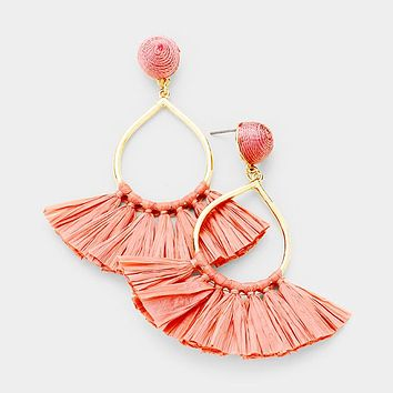 Thread Ball Metal Hoop Raffia Fan Tassel Earrings