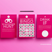Bachelorette Party Game Pack - 3 games-in-1, Dare Cards, Drink If, and Scavenger Hunt