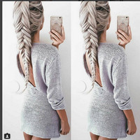 Casual Backless Drawstring Waist Knit Short Dress