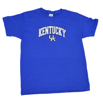 KY Arch Youth Size University of Kentucky on a Youth Blue Short Sleeve T Shirt
