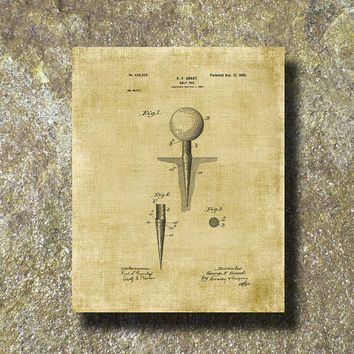 Golf Tee Patent Print 1899 Art Illustration Printable Instant Download Poster UP0101bur