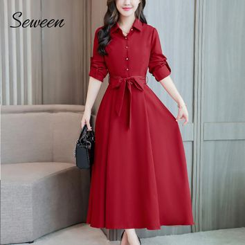 High Waist Long Sleeve Long Dress Turn-down Collar Midi Dress