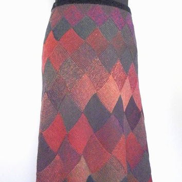Knitted entrelac wool skirt