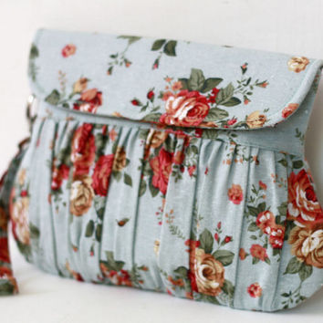 Shabby Chic Clutch, Bridesmaid clutches, Blue rose floral wristlet purse