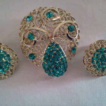 Vintage Rhinestone Brooch and Earrings Set