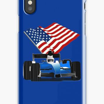 'Blue Race Car with American Flag ' iPhone Case/Skin by Gravityx9