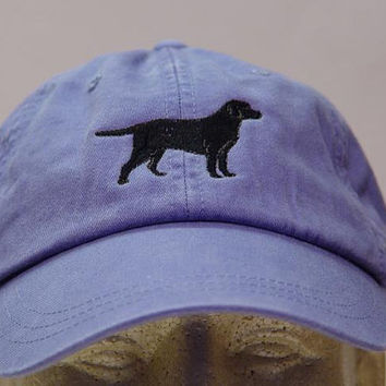 Black Labrador Retriever Dog Hat - One Embroidered Men Women Cap - Price Embroidery Apparel - 24 Color Caps Available