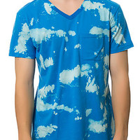 BLEACHED V-NECK TEE BLUE