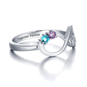 Personalized Double Heart Infinity Birthstone Ring 925 Sterling Silver Cubic Zirconia