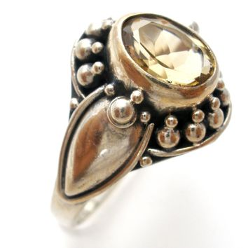 Citrine Gemstone Sterling Silver Ring Size 8