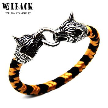 2017 New Brand Wolf Head Buckle Hand Made Braided Bracelet Stainless Steel Punk Jewelry Accessories Leather Men's Bracelet