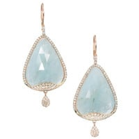 Meira T Aquamarine Diamond Micro Pave Gold Dangle Earrings