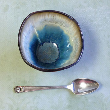 Crystalline Glaze Cup or Tea Bowl in Pale Blue and Ivory While, Ceramic Art Vessel, Hand Built from Porcelain 4 in sq x 3 in tall. Food Safe