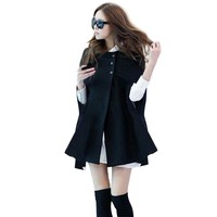 Autumn Women Ladies Batwing Oversized Casual Winter Coat Jacket Loose Cloak Cape Outwear Black Big Outwear Coat