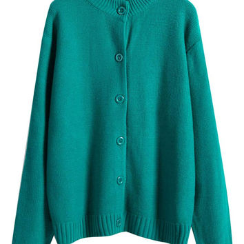 Stand Collar Ribbed Knitted Button Down Cardigan