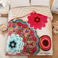 SunnyRain Indian Pattern Double-Faced Reversible Coral Fleece Blanket For Bed Adult Blankets Queen Size 200x230cm