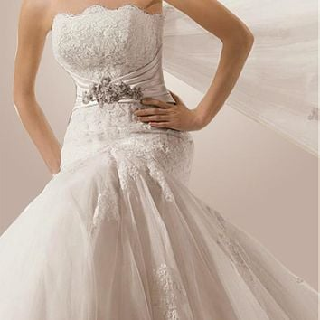 [299.99] Glamorous Tulle & Satin Mermaid Strapless Wedding Dress With Appliques,Beads and Rhinestones - dressilyme.com
