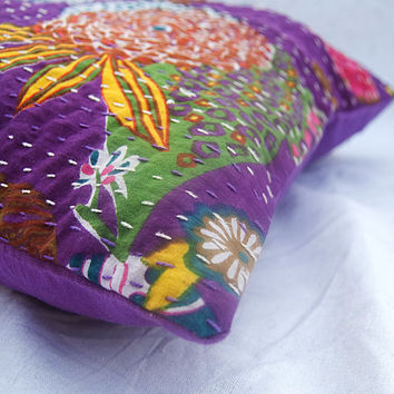 Decorative Pillow Cases Indian Kantha Stitched Cushion Covers Christmas Decorations Ideas Cotton Cushion Cases Purple Fruit Printed Designs