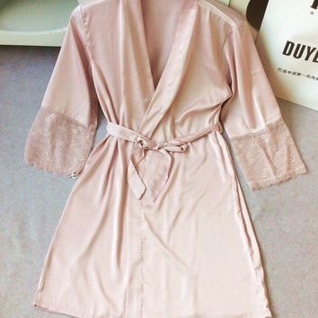 Mid-sleeve sexy women nightwear robes plus size M L XL XXL lace real silk female bathrobes free shipping 2015 vs brand hot