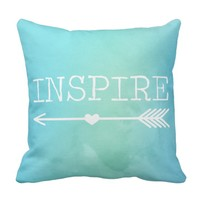 Blue Watercolor Inspire Arrow Pillow