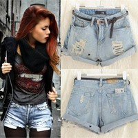 1 Woman Girls Light Blue High Waist Flange Hole Wash White Jean Denim Shorts Jiw