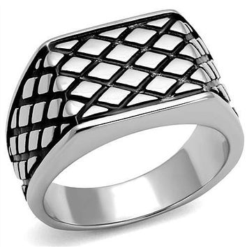 WildKlass Stainless Steel Ring High Polished (no Plating) Men Epoxy Jet
