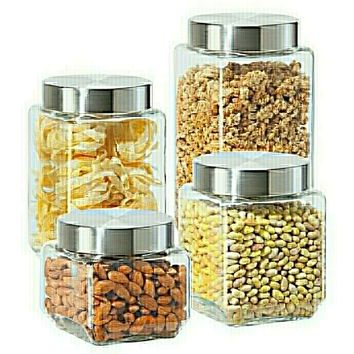 Set of 4 rounded square glass canisters with stainless steel lids