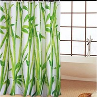 Bamboo Forest Design Bathroom Shower Curtain/Personalized Home Pattern Design Shower Curtain Waterproof Bathroom Fabric Shower Curtain (Bamboo)/Green Bamboo Fabric Shower Curtain with Rings (Size: 180cm by 180cm, Color: Multicolor)