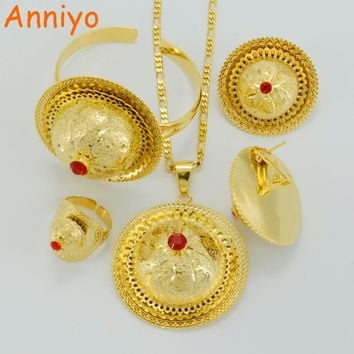 Anniyo 2017 Ethiopian Wedding Jewelry sets Gold Color Ethnic Necklaces Habesha Traditional Festival Africa Women's #046602