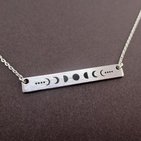 Lunar Moon Phases Minimal Rectangular Pendant Necklace in Silver