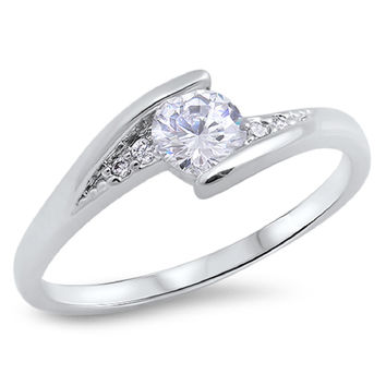 Sterling Silver CZ Simulated Diamond Designer Ring 6MM