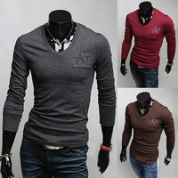 Mens V-Neck Letters Embroidery Slim Long Sleeve T-Shirts by martEnvy