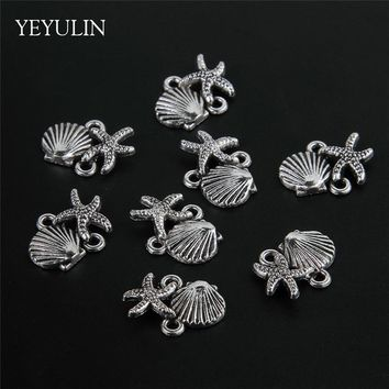 30pcs Antique Silver Plated Starfish Shell Charms Connecter For Bracelet Crafts Jewelry Findings 1.8*1cm
