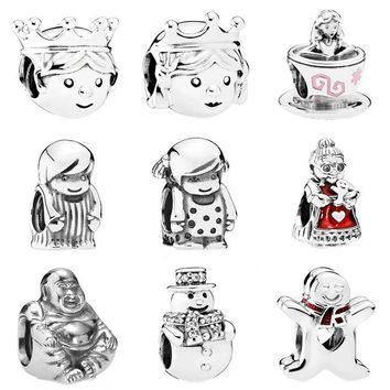 Cute Precious Prince Princess Boy Girl Alice In Wonderland Tea Cup Charm Fit Pandora Bracelet 925 Sterling Silver Charm Jewelry