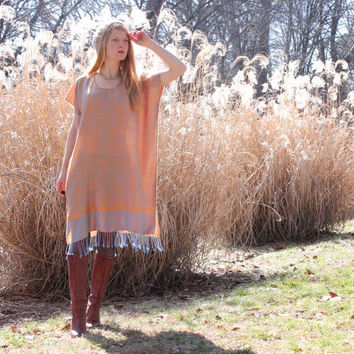 Soft Silk & Cashmere Boho Gypsy Kaftan Dress with Fringe Golden Natural One Size Fits All