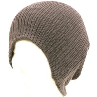 Unisex Soft Ribbed Long Beanie Slouchy Knit Hat Charcoal