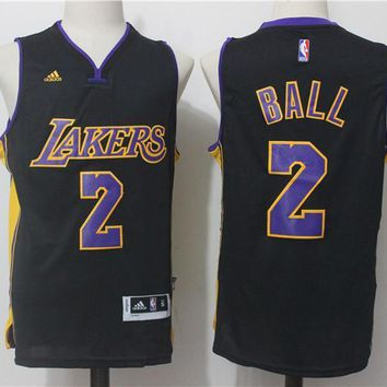 New Men's Los Angeles Lakers #2 Lonzo Ball Basketball Jersey Black