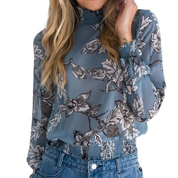 LASPERAL 2017 Autumn Chiffon Shirt Blouse Fashion Vintage Floral Printed Stand Collar Female Blouse Long Sleeve Lady Shirt Top
