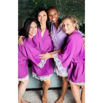 Purple Cotton Bridesmaid Robe With White Lace Trim