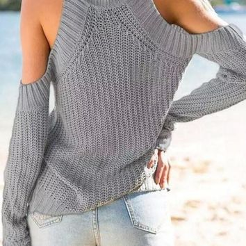Grey Solid Cut Out Off Shoulder High Neck Fashion Knitted Pullover Sweater