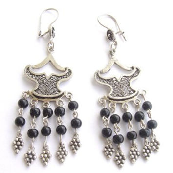 Sterling Silver Onyx Earrings II