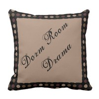 Marsala Brown Black Polka Dot Dorm Drama Pillow