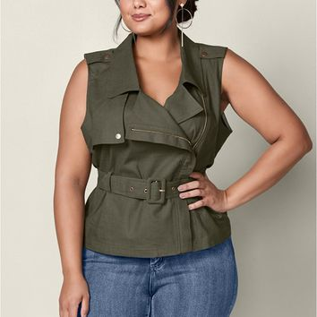 Zip Front Belted Top in Olive | VENUS