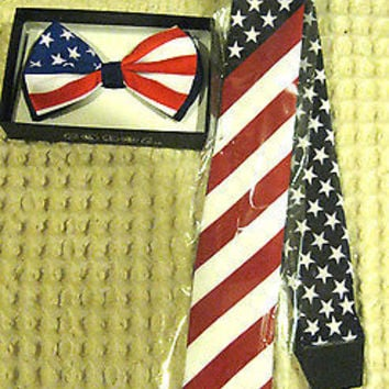US OF AMERICA/4TH OFJULY AMERICAN FLAG ADJUSTABLE BOW TIE+MATCHING NECKTIE COMBO