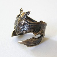 Gothic Steampunk FLYING FOX Bat RING Leathery wing by chinookhugs