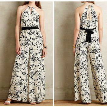 Anthropologie $188 Lilium Silk Jumpsuit by Elevenses Sz M NWT