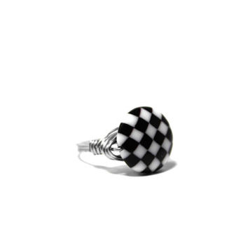 Wire Wrapped Ring, Black and White Checkerboard Pattern Stainless Steel Ring, Any Size 4, 5, 6, 7, 8, 9, 10, 11, 12, 13, 14
