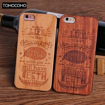 TOMOCOMO Dollar Money Floral Music Smile Happy Real  Wood Phone Case For iPhone 5 6 6Plus 7 7Plus 8 8Plus X Cover Fundas  Capas